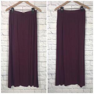 LOFT Burgundy Wine Res Maxi Skirt Side Slit Sz S